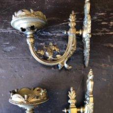 Antigüedades: PAREJA DE APLIQUES DE BRONCE. Lote 222866796