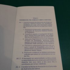 Antigüedades: SARGADELOS ASOCIACION AMIGOS DI CINXUNTO HISTIRUCO ARTISTICO ESTATUTOS LUGO. Lote 222891942