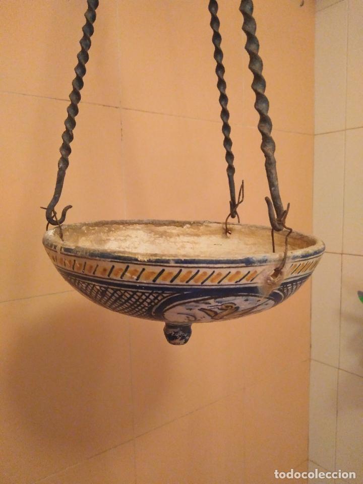 Antigüedades: Macetero de colgar de cerámica de Triana. - Foto 11 - 222960031