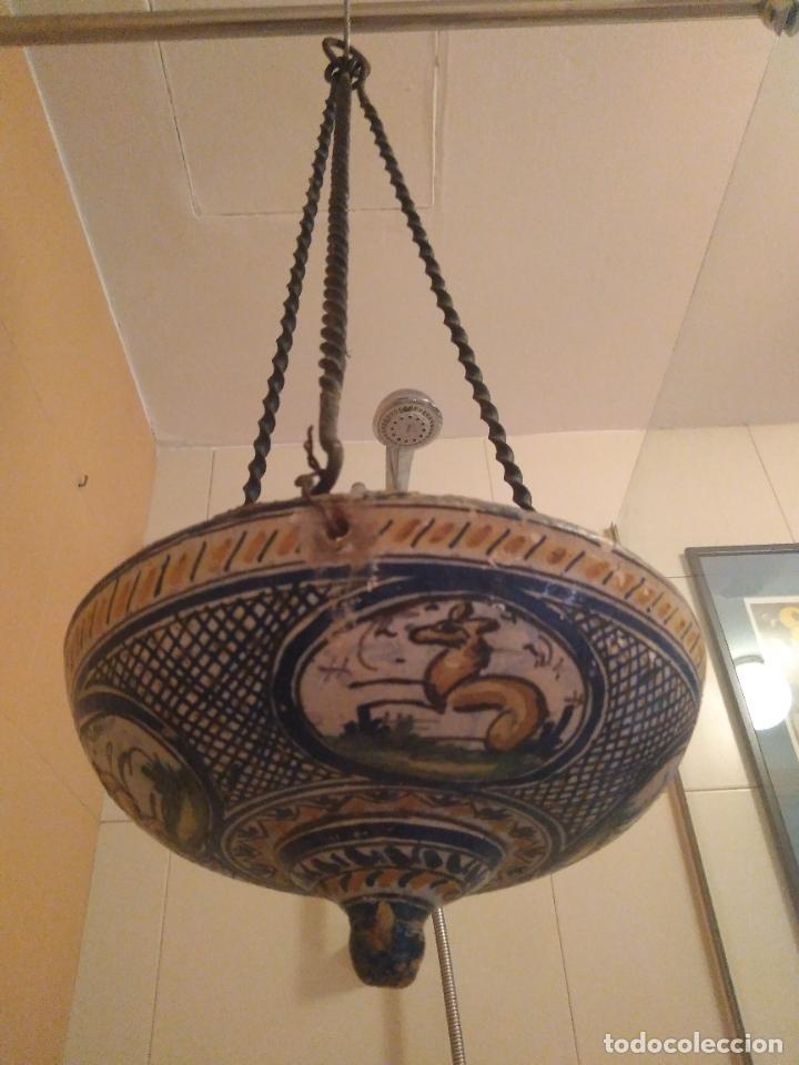 Antigüedades: Macetero de colgar de cerámica de Triana. - Foto 13 - 222960031