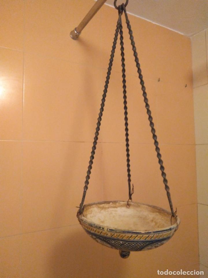 Antigüedades: Macetero de colgar de cerámica de Triana. - Foto 17 - 222960031