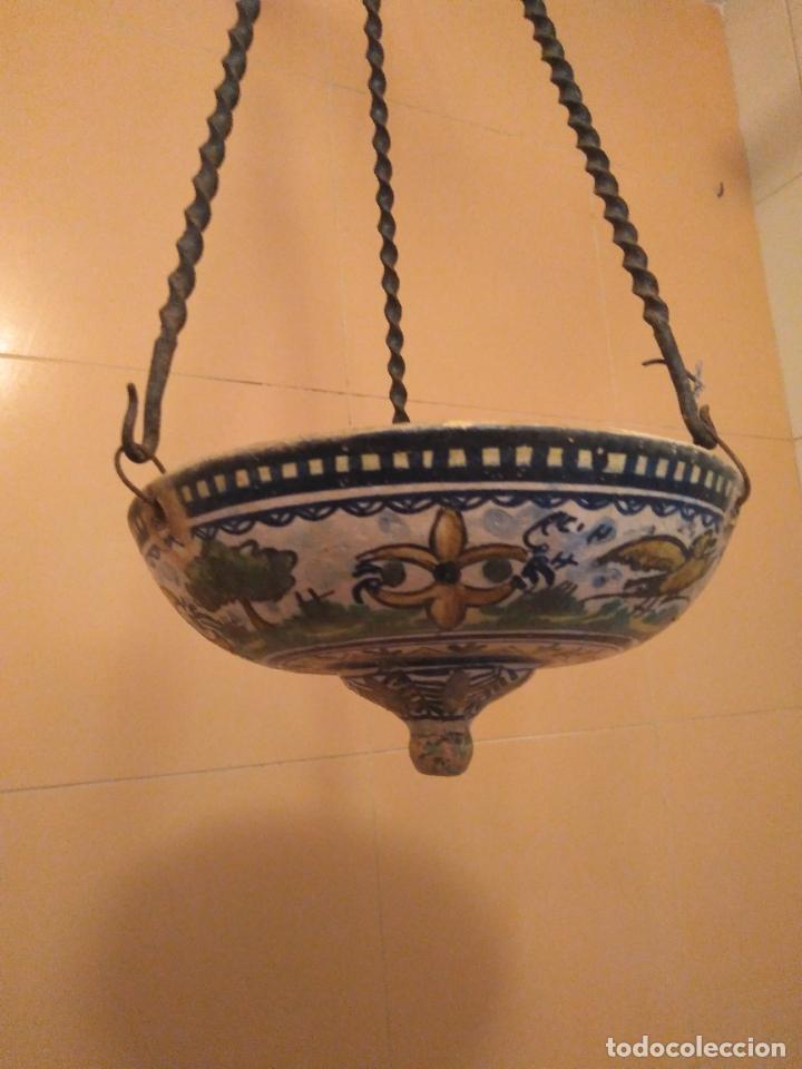 Antigüedades: Macetero de colgar de cerámica de Triana. - Foto 4 - 222960178