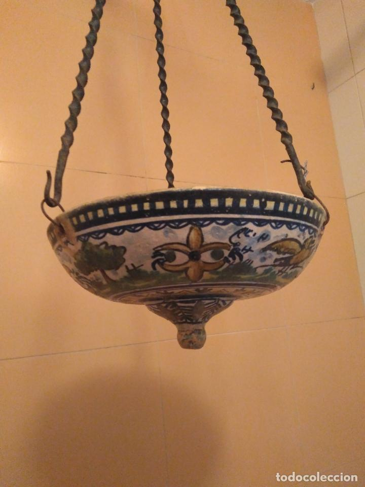 Antigüedades: Macetero de colgar de cerámica de Triana. - Foto 5 - 222960178