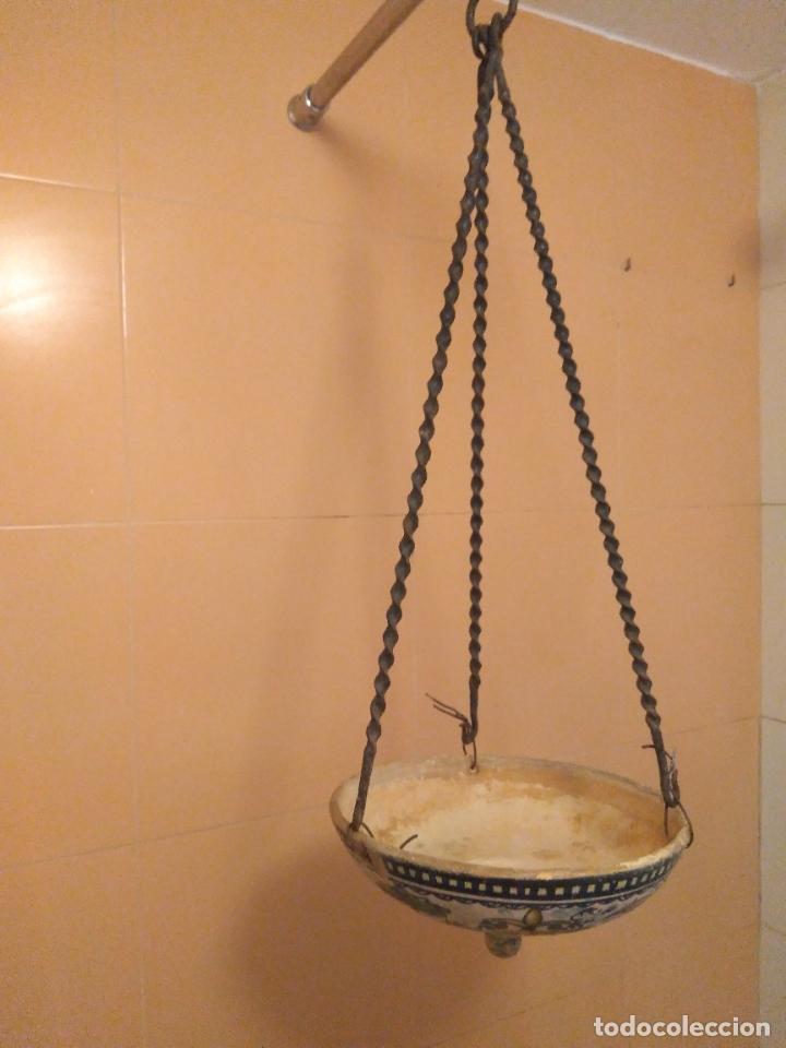 Antigüedades: Macetero de colgar de cerámica de Triana. - Foto 6 - 222960178