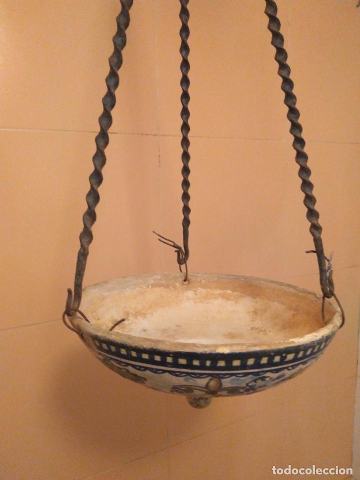 Antigüedades: Macetero de colgar de cerámica de Triana. - Foto 7 - 222960178