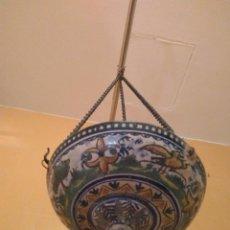 Antigüedades: MACETERO DE COLGAR DE CERÁMICA DE TRIANA.. Lote 222960178