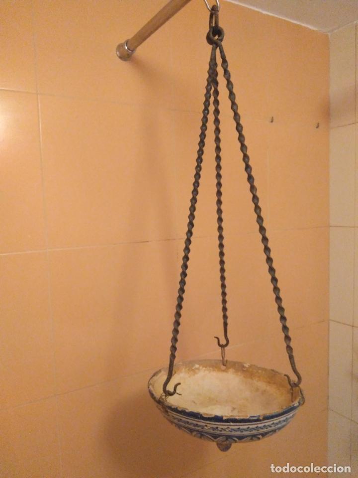 Antigüedades: Macetero de colgar de cerámica de Triana. - Foto 10 - 222960336