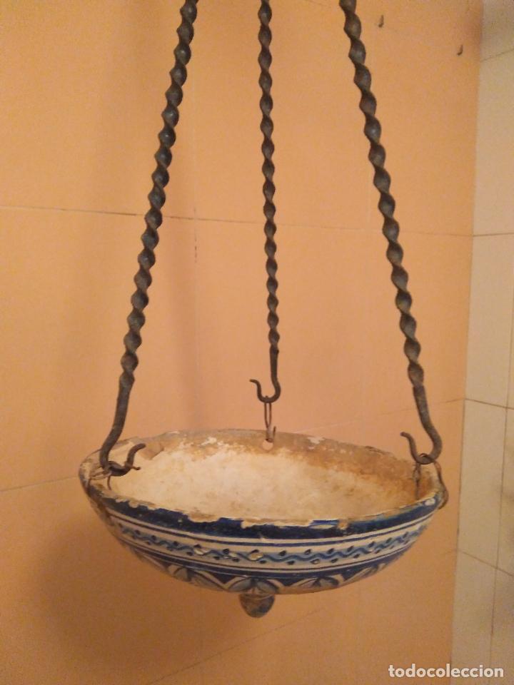 Antigüedades: Macetero de colgar de cerámica de Triana. - Foto 11 - 222960336