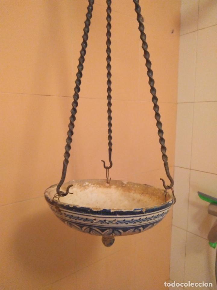 Antigüedades: Macetero de colgar de cerámica de Triana. - Foto 12 - 222960336
