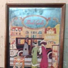 Antigüedades: CUADRO CON ESPEJO CAFÉ MONTE CARLO. Lote 222978946