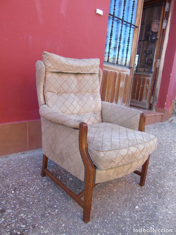 Antigüedades: ANTIGUO SILLÓN, BUTACA DE ESTRUCTURA DE MADERA, PARA TAPIZAR. - Foto 5 - 223006917