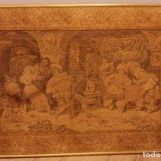 Antigüedades: ANTIGUO TAPIZ FRANCÉS DE GRANDES DIMENSIONES. CON BASTIDOR Y MARCO. 127X92CM. Lote 223008890