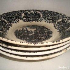 Antigüedades: 4 PLATOS HONDOS / CUENCOS PICKMAN SERIE VISTAS NEGRO, 23CM.. Lote 252380230