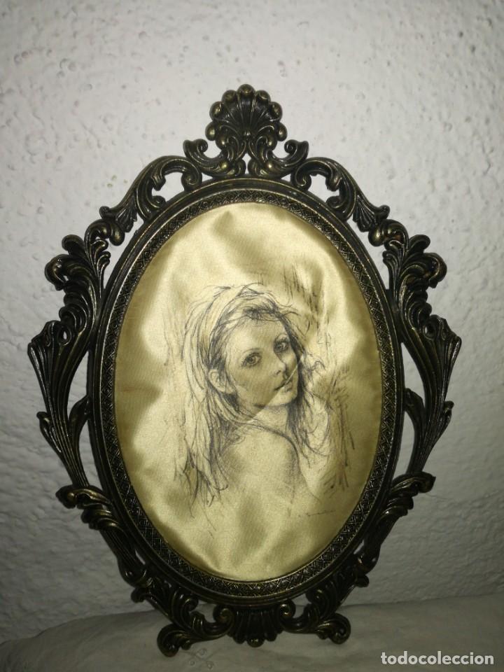 Antigüedades: Pareja de cuadros de seda y bronce - Foto 2 - 223034405