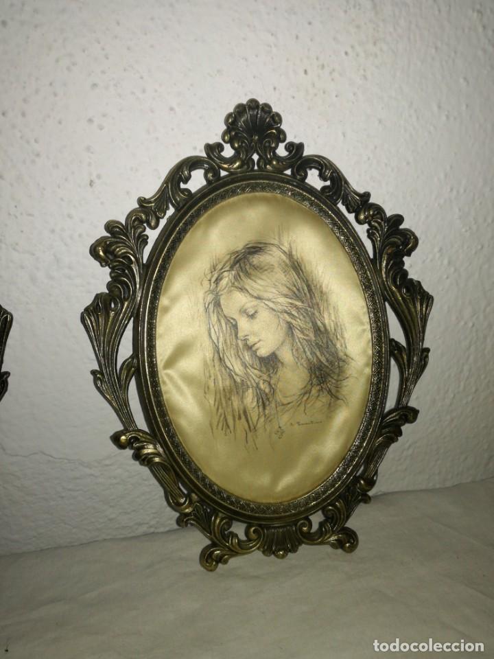 Antigüedades: Pareja de cuadros de seda y bronce - Foto 3 - 223034405