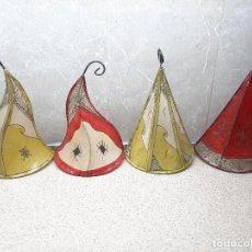 Antigüedades: LOTE DE 4 FAROLES O LAMPARAS DE PARED PARA VELAS O BOMBILLAS CON TULIPA DE PELLEJO, LAMPARA.. Lote 223038116