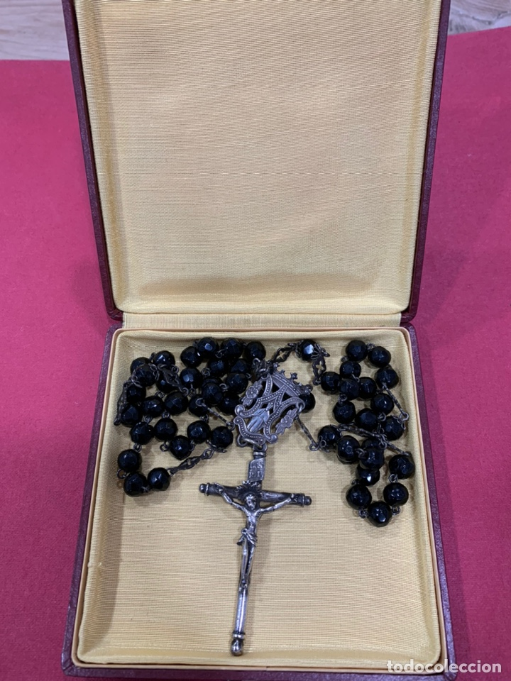 Antigüedades: Magnífico rosario del siglo XIX en plata de ley y azabache en caja. Magnífica pieza de colección - Foto 3 - 223082540