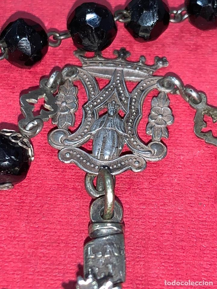Antigüedades: Magnífico rosario del siglo XIX en plata de ley y azabache en caja. Magnífica pieza de colección - Foto 11 - 223082540