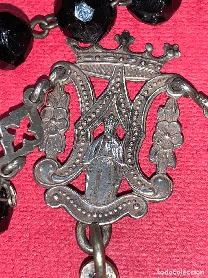Antigüedades: Magnífico rosario del siglo XIX en plata de ley y azabache en caja. Magnífica pieza de colección - Foto 12 - 223082540