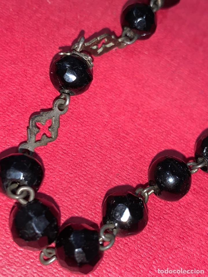 Antigüedades: Magnífico rosario del siglo XIX en plata de ley y azabache en caja. Magnífica pieza de colección - Foto 15 - 223082540