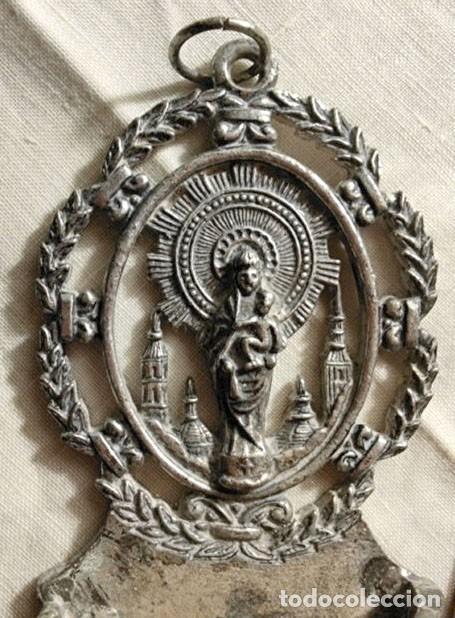 Antigüedades: DOS BENDITERAS. METAL PLATEADO, LATÓN Y PLÁSTICO. ESPAÑA. AÑOS 40 - Foto 2 - 223090530