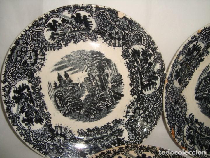 Antigüedades: 5 PLATOS HONDOS SERIE VISTAS NEGRO, 23cm. - Foto 2 - 269965808