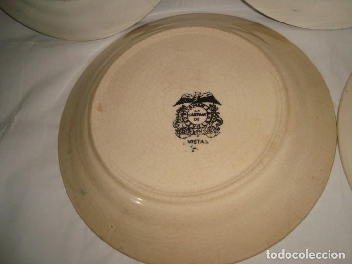 Antigüedades: 5 PLATOS HONDOS SERIE VISTAS NEGRO, 23cm. - Foto 10 - 269965808