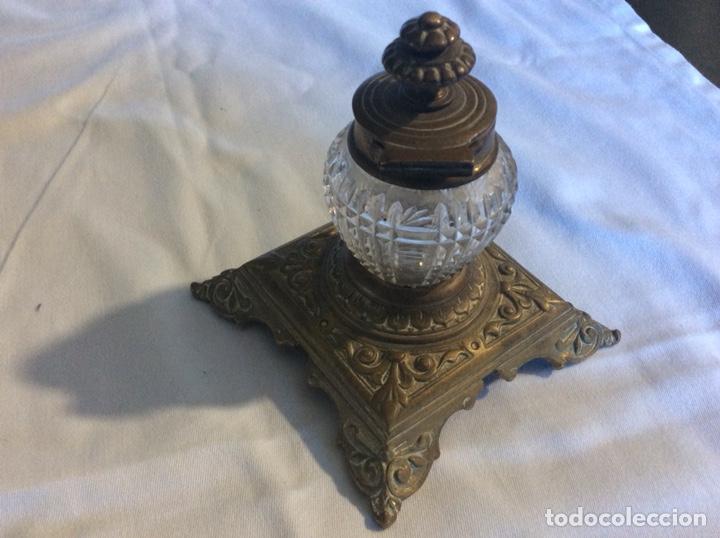 Antigüedades: ANTIGUO TINTERO DE BRONCE Y CRISTAL PRINCIPIOS DE SIGLO - Foto 2 - 223128740