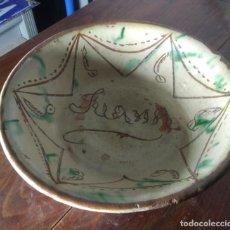Antigüedades: PLATO ANTIGUO CUENCO DE ALFARERIA DE SANTA CRUZ DE MUDELA DE 8 CMS. DE ALTO X 27 CMS. DE ANCHO. Lote 223145265