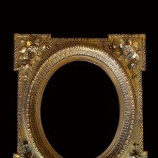 Antigüedades: PRECIOSO MARCO ISABELINO, SIGLO SXIX.DORADO Y ORO FINO. 84 X 72. Lote 223149442