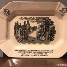 Antiquités: BANDEJA CERAMICA PICKMAN - XXX CONGRESO AMIGOS DEL FERROCARRIL - EXPO 1992. Lote 223149626