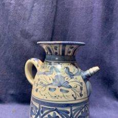 Antigüedades: JARRA ESTILO MEDIEVAL TERUEL CERAMICA ALFAR EN AZULES PUNTER MARCA BASE 23X16CMS. Lote 223159388