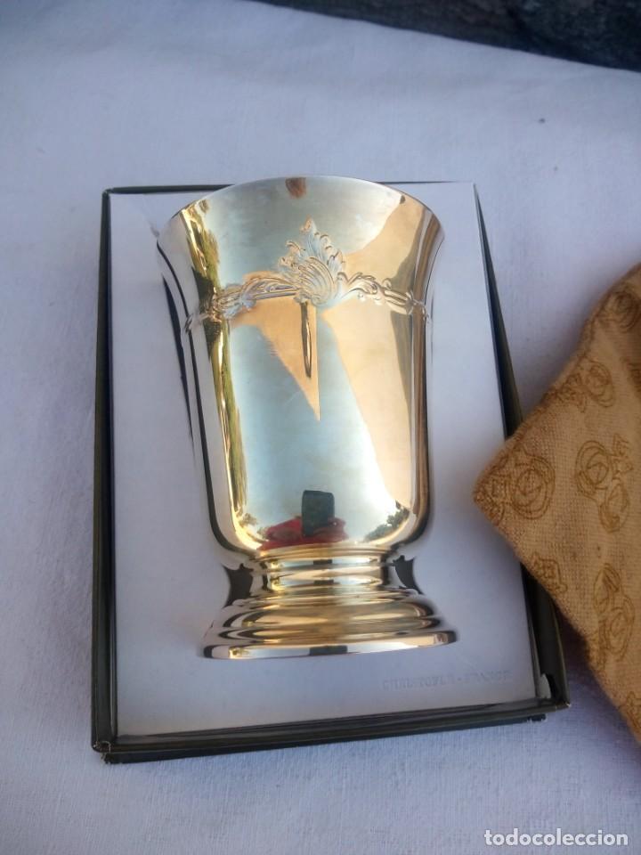 Antigüedades: Precioso vaso de Christofle france,con caja original y saco. - Foto 4 - 223160538