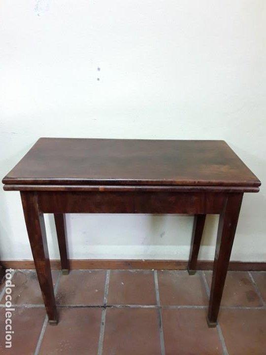Antigüedades: Extraordinaria mesa de juego Imperio, siglo XIX, madera de palisandro y pies de bronce - Foto 4 - 223242038