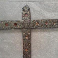 Antigüedades: CRUZ RELICARIO DE SIGLO XVII ,LEYENDA,SANTISIMA IGLESIA MAYOR DE LEON,MAGNIFICO TRABAJO. Lote 223246322