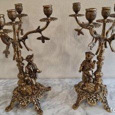 Antigüedades: CANDELABROS DE BRONCE NUEVOS DE TIENDA. Lote 223257951