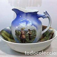 Antigüedades: JARRA Y PALANGANA DE PORCELANA SIGLO XIX.. Lote 223257996