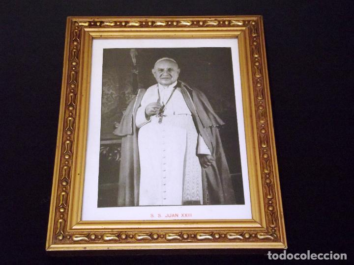 LÁMINA ENMARCADA DE JUAN XXIII - 1959 - 26 X 20 CMS. (Antigüedades - Religiosas - Varios)