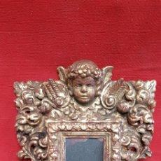 Antigüedades: ESPEJO MADERA ESTILO BARROCO PAN ORO. Lote 223276513