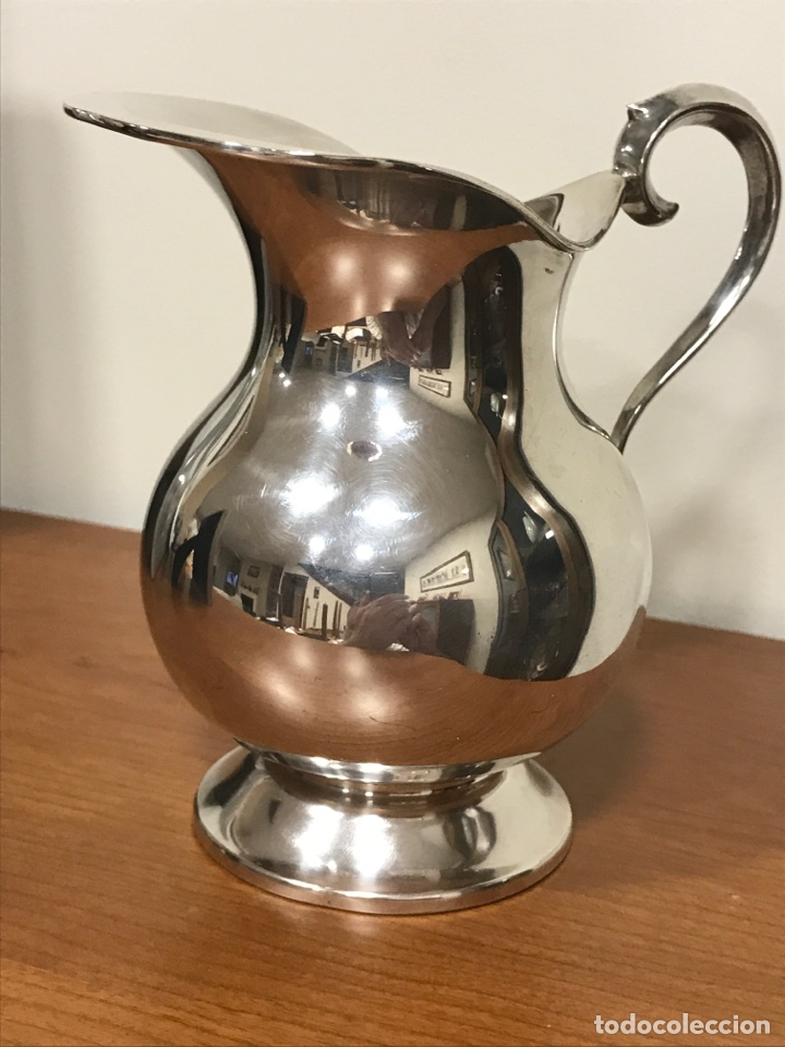 Antigüedades: Pequeña jarra de alpaca con baño de plata, muy bonita, de finales de los 60, altura 15cm. - Foto 5 - 223288997