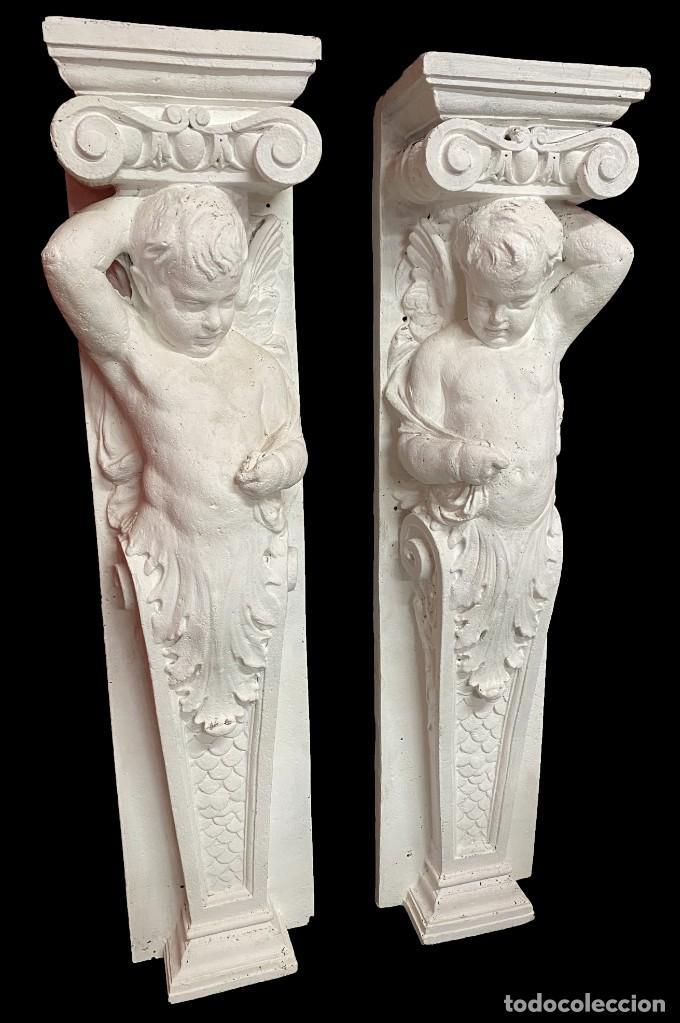Antigüedades: Antiguo ángel, ménsula, atlante, columna para chimenea o ménsula. 130x30x20 cariátide - Foto 2 - 223328447