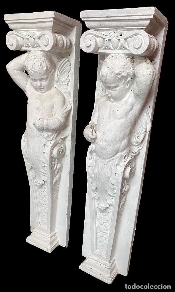 Antigüedades: Antiguo ángel, ménsula, atlante, columna para chimenea o ménsula. 130x30x20 cariátide - Foto 3 - 223328447