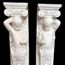 Antigüedades: ANTIGUO ÁNGEL, MÉNSULA, ATLANTE, COLUMNA PARA CHIMENEA O MÉNSULA. 130X30X20 CARIÁTIDE. Lote 223328447