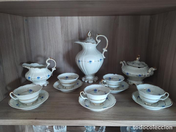 JUEGO DE TAZAS ANTIGUO, MARCA SANTA CLARA. (Antigüedades - Porcelanas y Cerámicas - Santa Clara)