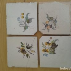 Antigüedades: F4 4 AZULEJOS ANTIGUOS VALENCIA SIGLO XIX FLOR. Lote 223363212