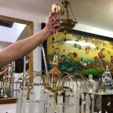 Antigüedades: BONITA LAMPARA CON LAGRIMAS DE CRISTAL - MEDIDA 75X45 CM. Lote 223383483