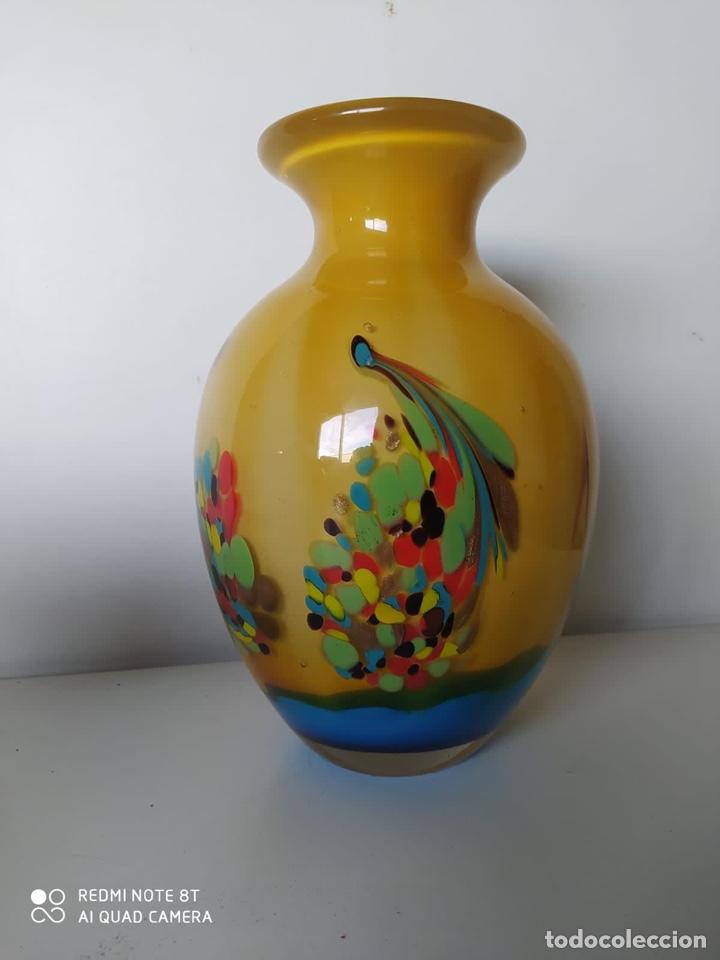 IMPRESIONANTE JARRÓN DE MURANO ITALIANO MUY PESADO (Antigüedades - Cristal y Vidrio - Murano)
