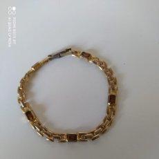 Antigüedades: PULSERA CHAPADA EN ORO CON PIEDRAS. Lote 223468571