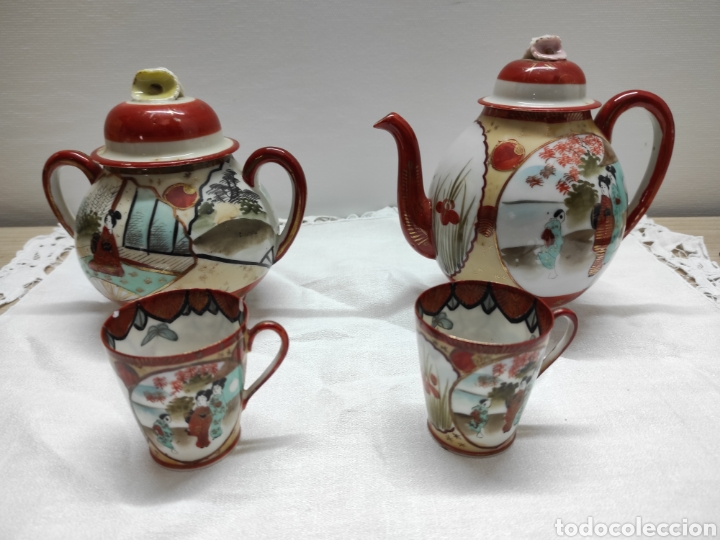 JUEGO CAFÉ O TÉ JAPONÉS ORIENTAL DE CÁSCARA DE HUEVO (Antigüedades - Porcelana y Cerámica - Japón)