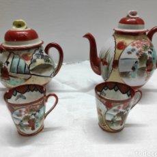 Antigüedades: JUEGO CAFÉ O TÉ JAPONÉS ORIENTAL DE CÁSCARA DE HUEVO. Lote 223478182